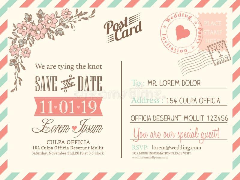 Rocznika pocztówkowy tło dla ślubnego zaproszenia ilustracja wektor