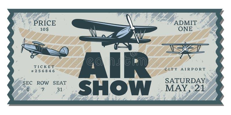 Rocznika pokazu lotniczego przepustki bilet ilustracja wektor
