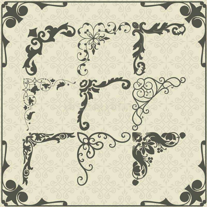 Rocznika projekta elementów kąty ilustracji