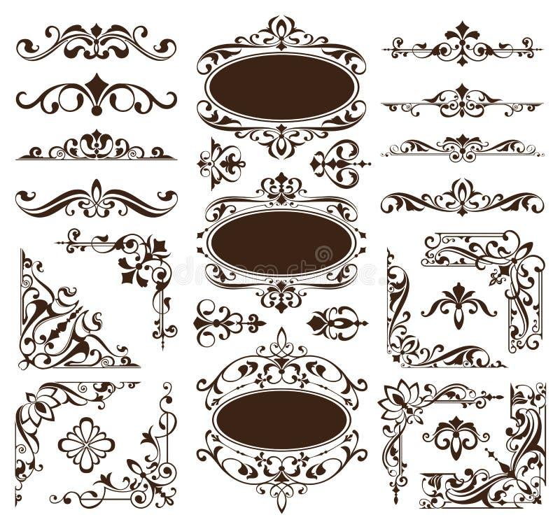 Rocznika projekta elementów ornamentów rama osacza krawężników retro majcherów i adamaszkowego wektoru ustalonej ilustraci ilustracji
