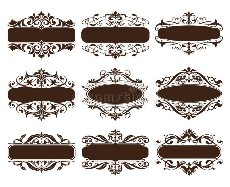 Rocznika projekta elementów ornamentów rama osacza krawężników retro majcherów i adamaszkowego wektoru ustalonej ilustraci royalty ilustracja