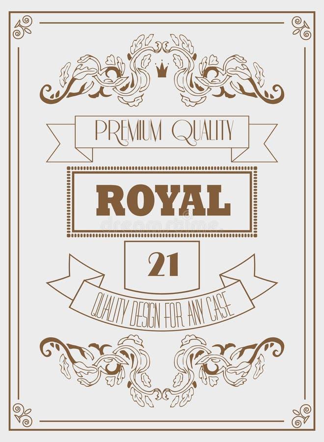 Rocznika projekta królewski szablon z podpisem, koroną i eleganckimi ramami, ilustracja wektor