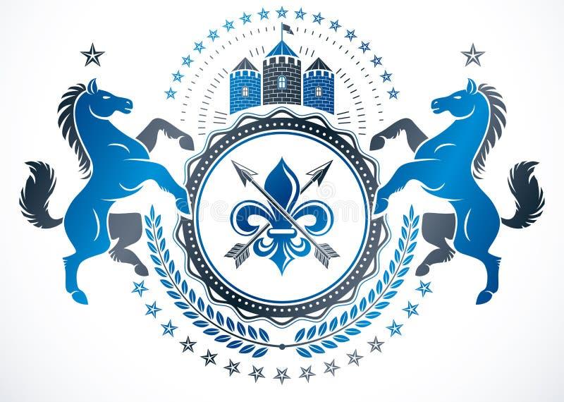 Rocznika projekta wektorowy element Retro stylowa etykietka, heraldyki vecto royalty ilustracja