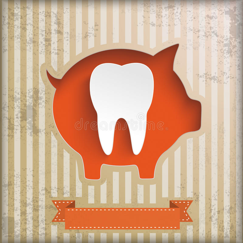 Rocznika prosiątka banka ceny majcherów bielu ząb ilustracja wektor