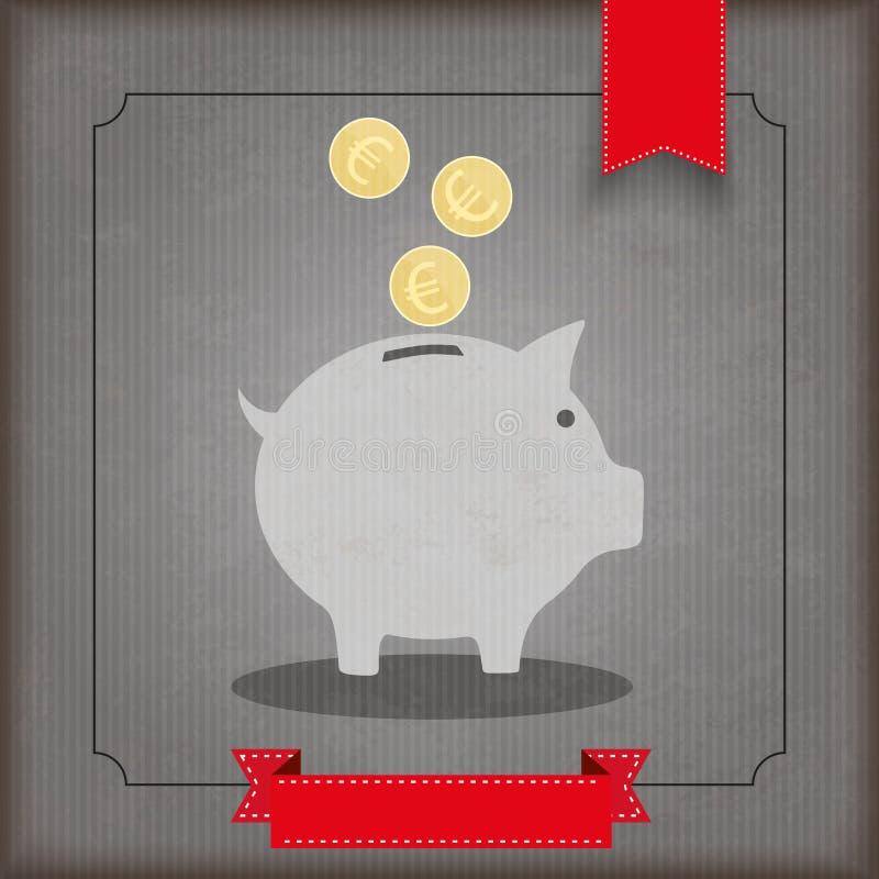 Rocznika prosiątka Tasiemkowy bank Ukuwa nazwę euro ilustracji
