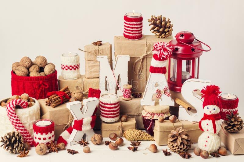 Rocznika przełaz więcej toreb, Świąt oszronieją Klaus Santa niebo dekoracje świąteczne ekologicznego drewna obrazy stock