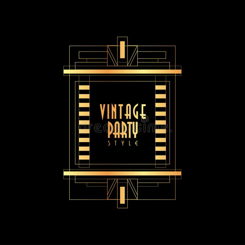 Rocznika przyjęcia stylu ilustraci, złocistego i czarnego elegancki szablon dla zaproszenia wektorowy, kartka z pozdrowieniami, p royalty ilustracja