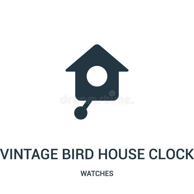rocznika ptaka domu zegaru ikony wektor od zegarek kolekcji Cienka kreskowa rocznika ptaka domu zegaru konturu ikony wektoru ilus ilustracja wektor