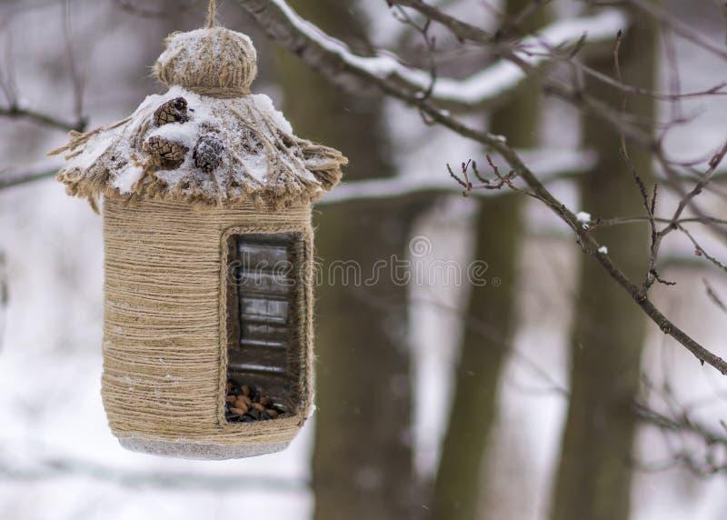 Rocznika ptaka dozowniki _ Ptasi dozownik zakrywający z śniegiem Mała głębia pole zdjęcia royalty free