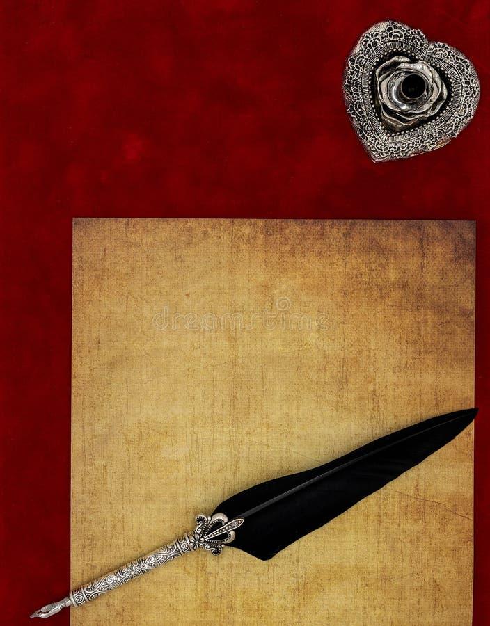Rocznika pustego preachment dutki ozdobny srebny stojak ornamentował dutkę - listu miłosnego pojęcie obraz stock