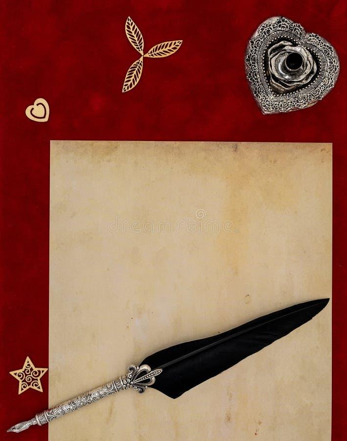 Rocznika pusty preachment, drewno kształtuje, ozdobny srebny stojak ornamentująca dutki dutka - listu miłosnego pojęcie zdjęcie stock