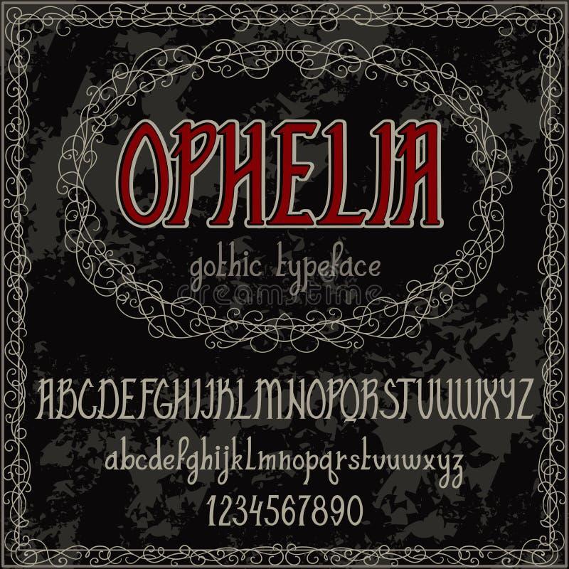 Rocznika ręka rysujący abecadło Ręcznie pisany chrzcielnica w gothic stylu ilustracji