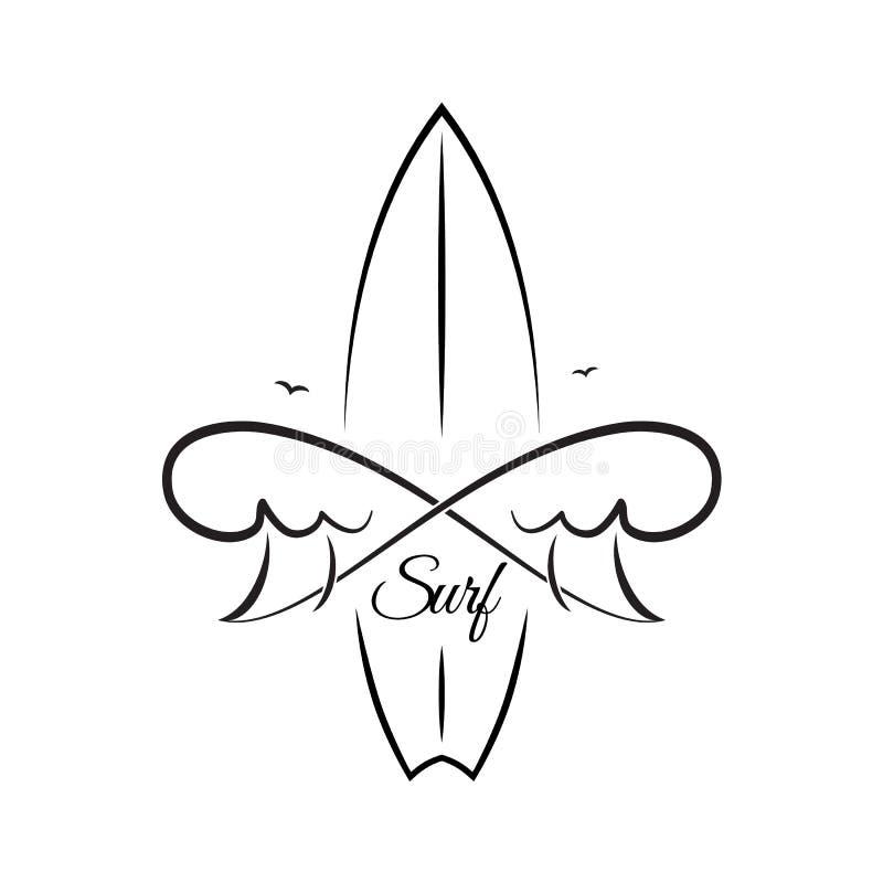 Rocznika ręka rysujący emblemat kipiel klub z surfing fala i deską royalty ilustracja