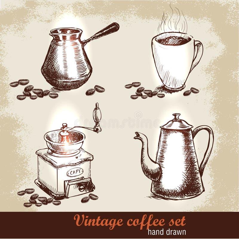 Rocznika ręka rysujący kawowy ustawiający z kawowymi fasolami błyskowy laptopu światła nakreślenia styl royalty ilustracja