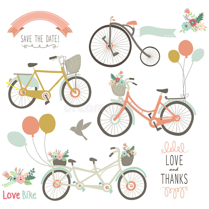 Rocznika ręka Rysujący rower ilustracja wektor
