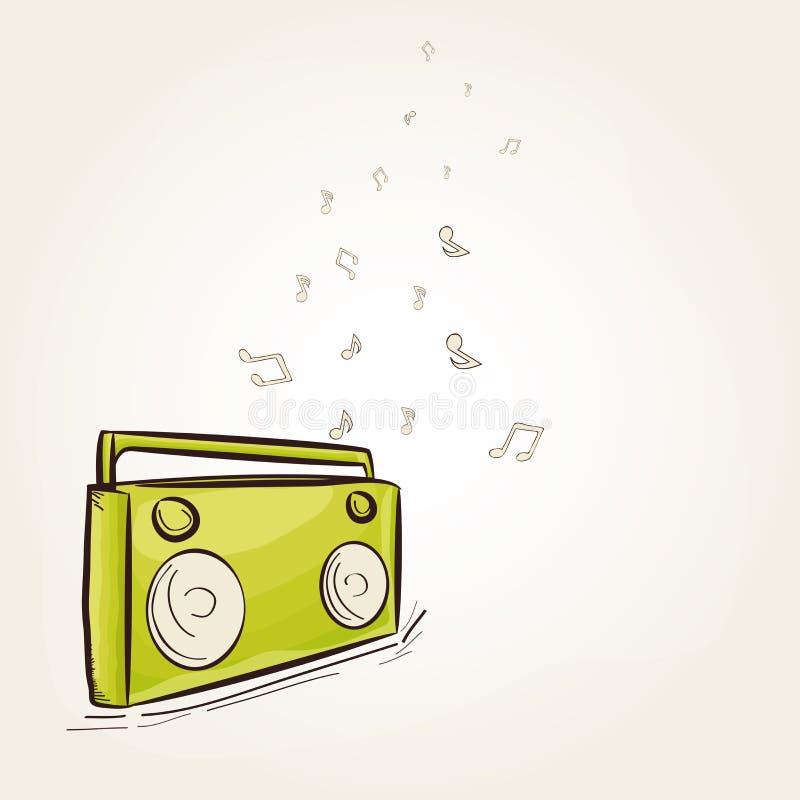 Download Rocznika Radio Z Muzykalnymi Notatkami Ilustracji - Ilustracja złożonej z antyk, elektryczny: 53777724