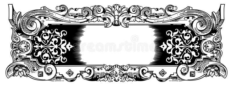 rocznika ramowy stylowy woodblock ilustracja wektor