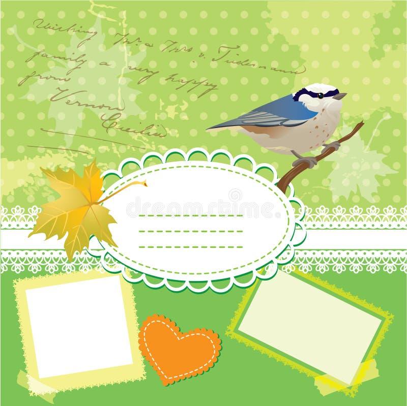 Rocznika ramy z ptakiem i liść ilustracji