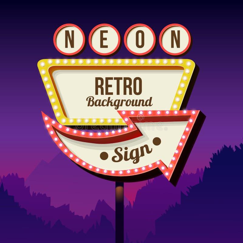 Rocznika reklamowy drogowy billboard z światłami Retro 3d znak ilustracja wektor