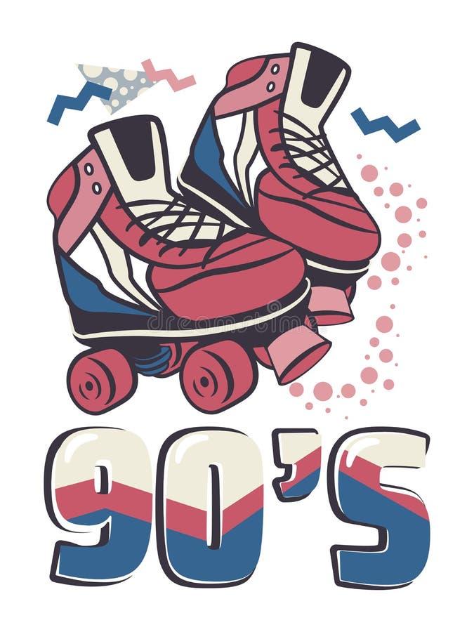 Rocznika retro kwadrata rolkowe łyżwy w modnym 80s 90s Memphis stylu royalty ilustracja