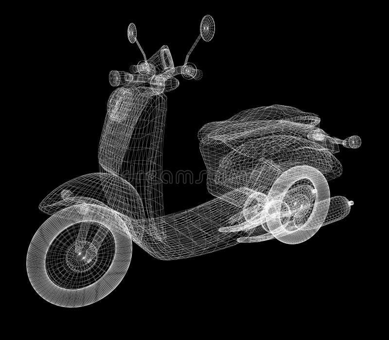 Rocznika Retro Moped model 3 d ilustracji