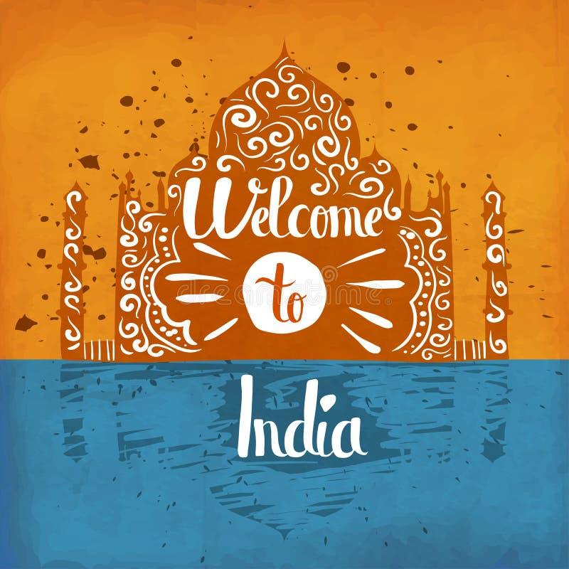 Rocznika retro plakat handlettering na temacie turystyka w India z indii ilustracja wektor