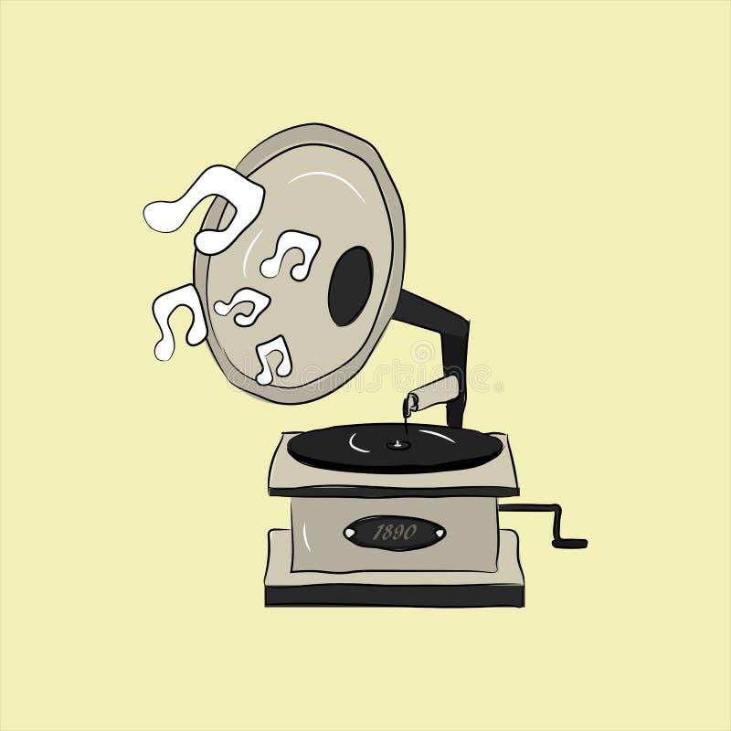 Rocznika retro ręka rysujący gramofon w stylu royalty ilustracja