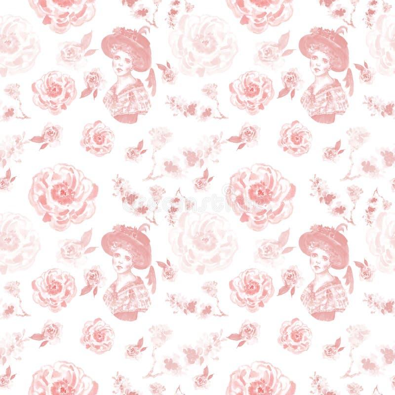 Rocznika retro stylowy bezszwowy wzór z kobieta portretem i delikatnymi różowymi kwiatami na białym tle royalty ilustracja