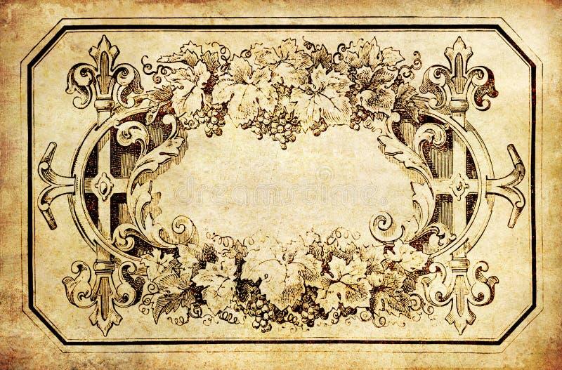 Rocznika rośliny rama na starym papierze obraz royalty free