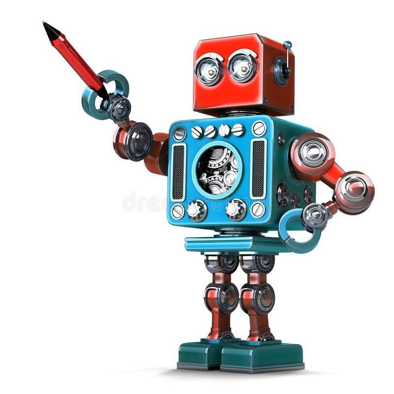 Rocznika robot z piórem Zawiera ścinek ścieżkę ilustracja wektor