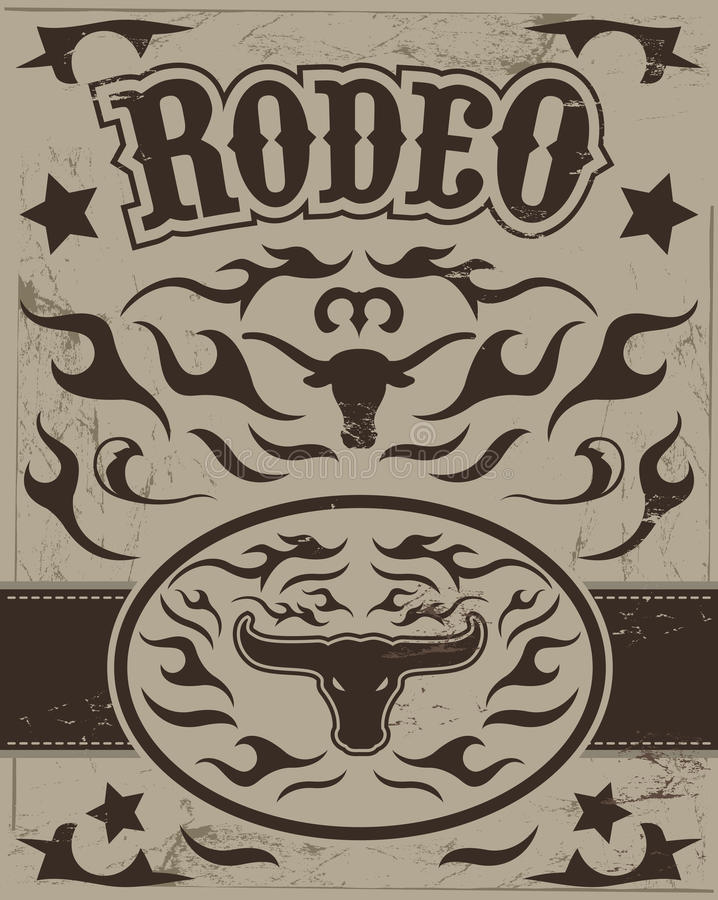 Rocznika rodeo plakat ilustracja wektor