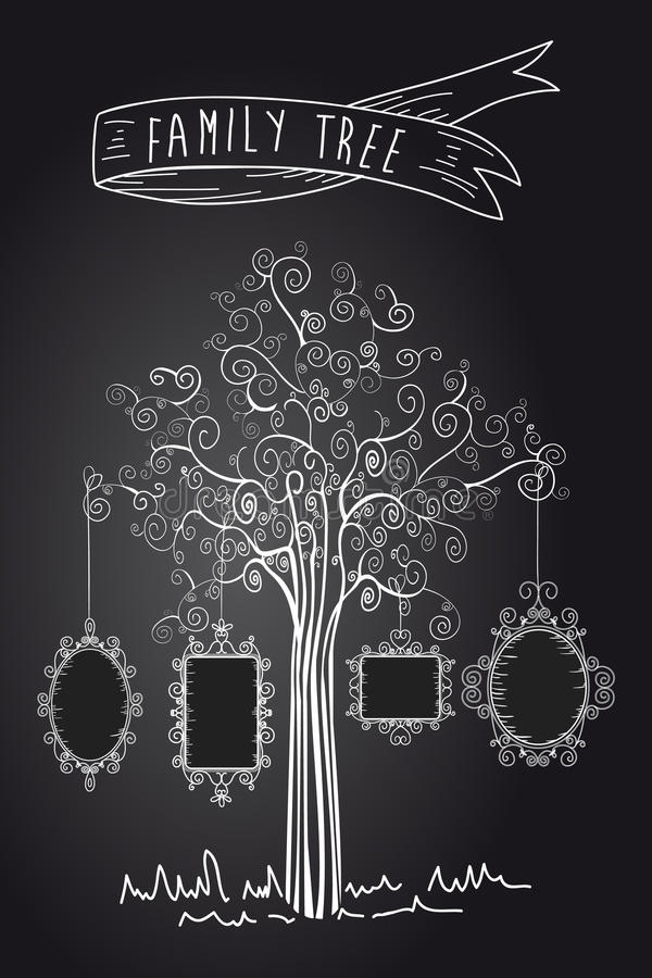 Rocznika rodzinny drzewo ilustracji