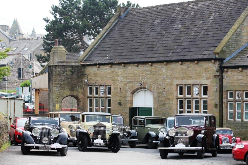 Rocznika Rolls Royce samochodów Carnforth stacja obraz royalty free