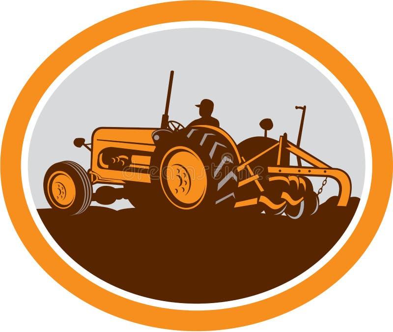 Rocznika Rolnego ciągnika orania Średniorolny owal Retro royalty ilustracja