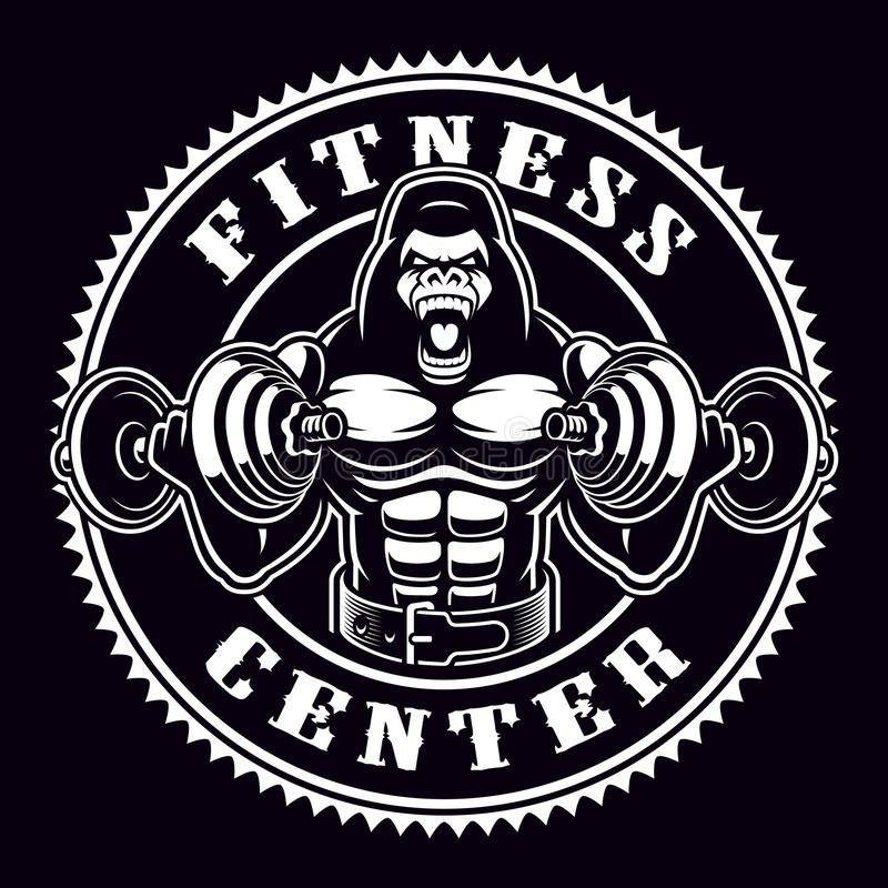 Rocznika round odznaka goryla bodybuilder z dumbbells ilustracja wektor