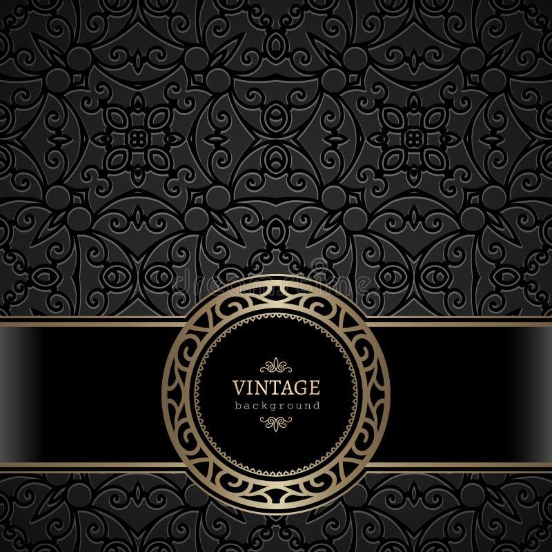 Rocznika round złocista rama na czarnym tle royalty ilustracja