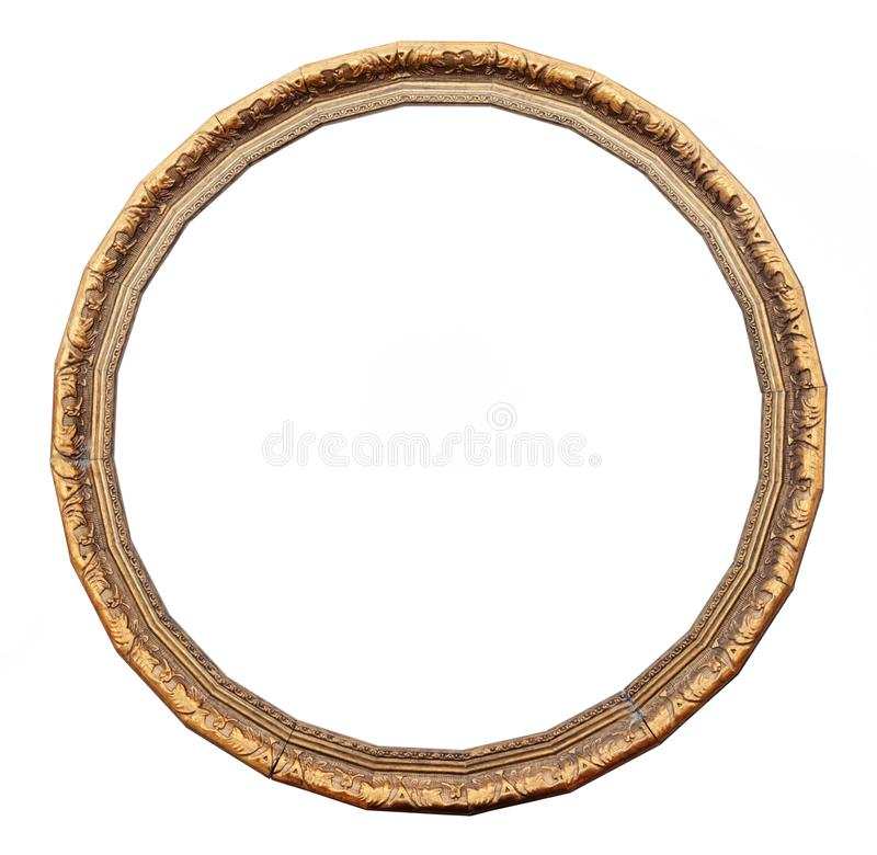Rocznika round złota rama zdjęcia stock