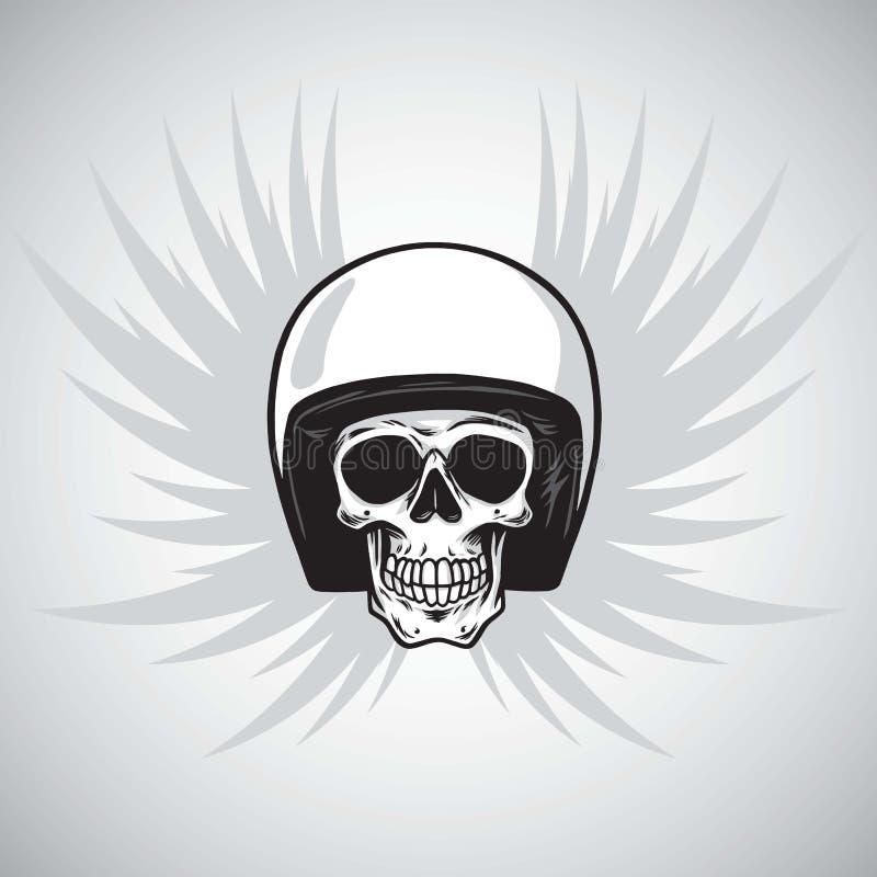 Rocznika rowerzysty czaszka z hełmem i skrzydłami ilustracji