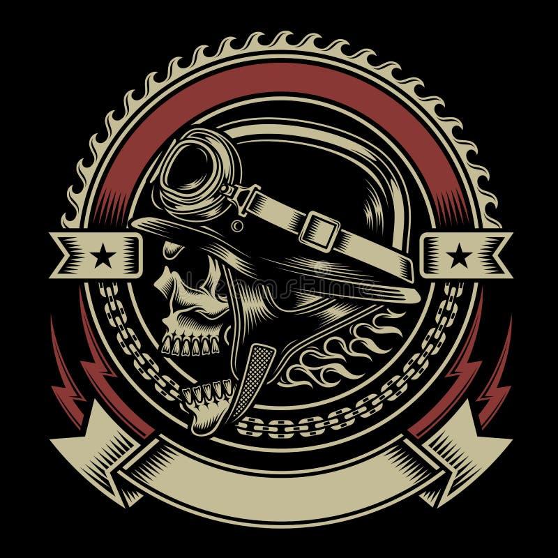 Rocznika rowerzysty czaszki emblemat royalty ilustracja