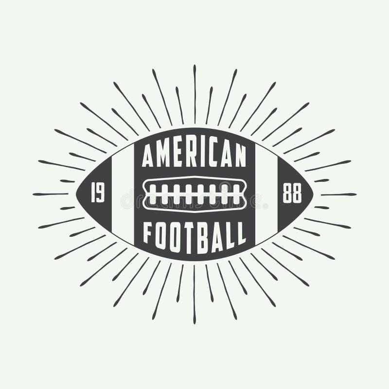 Rocznika rugby lub futbolu amerykańskiego piłki logo odznaka lub etykietka, royalty ilustracja
