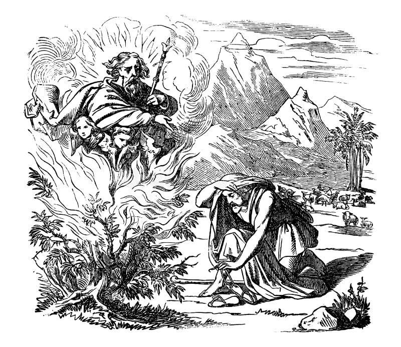 Rocznika rysunek Biblijna opowieść Mojżesz i Płonący Bush ilustracja wektor