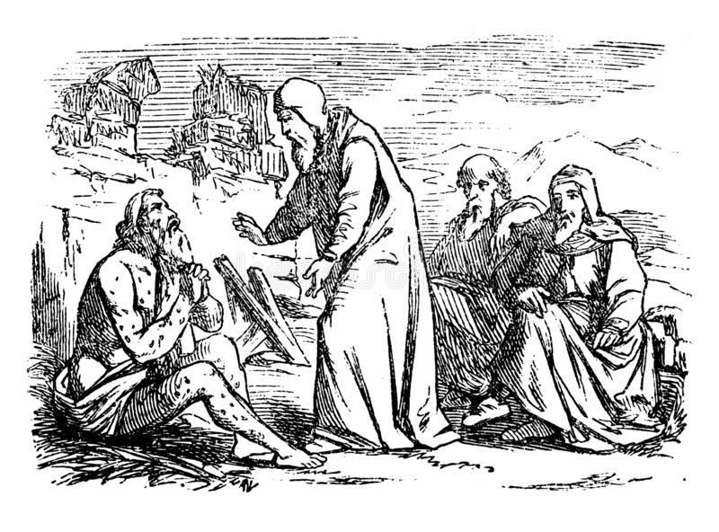Rocznika rysunek Biblijna opowieść praca Stary Chory mężczyzna Opowiada Z Trzy przyjaciółmi ilustracja wektor