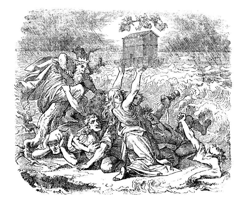 Rocznika rysunek Biblijny genezy Noah i powodzi łuk Unosi się na wodzie ilustracja wektor