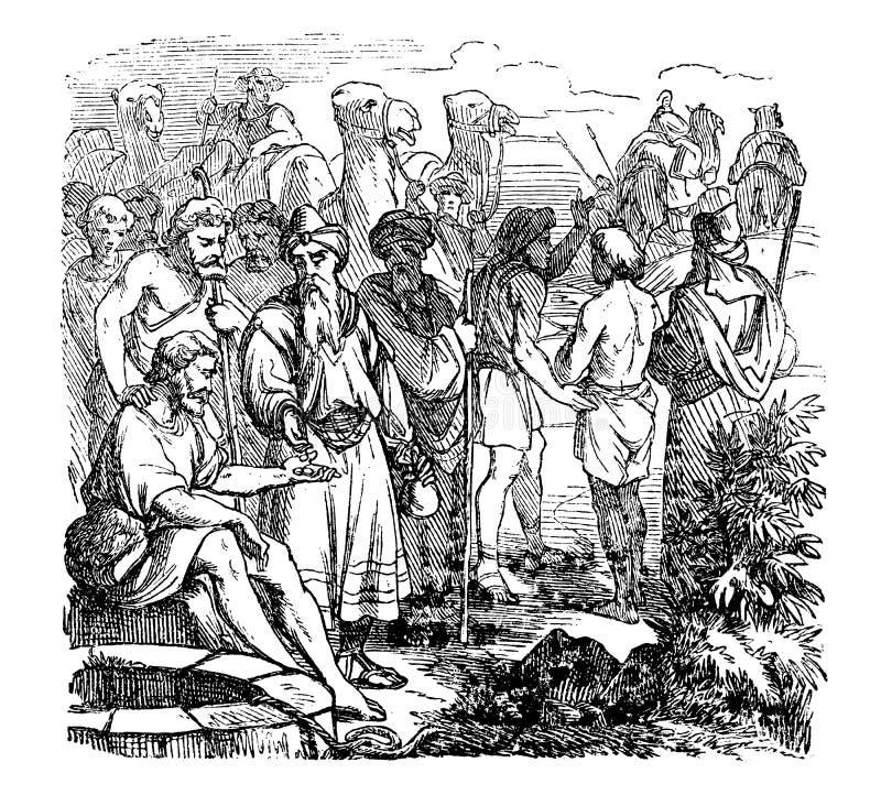 Rocznika rysunek mężczyzna Doing Business Z Karawanowym handlarzem Biblijna opowieść O Joseph Sprzedawał w niewolnictwo jego royalty ilustracja