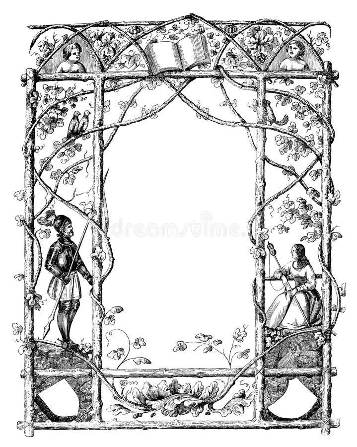Rocznika rysunek Ozdobna rama Z Naturalnym tematem, rycerz i kobieta na stronach royalty ilustracja
