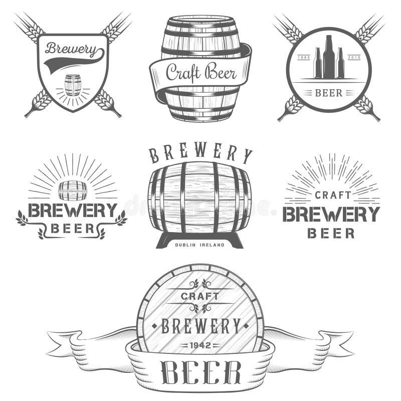 Rocznika rzemiosła browaru Piwny logo i odznaka ilustracji