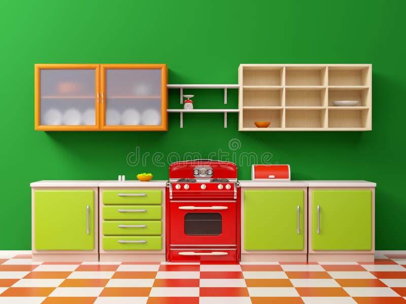 Rocznika 50s kuchni mieszkanie ilustracja wektor