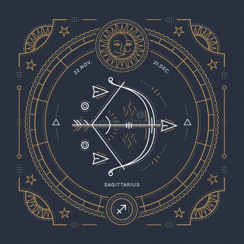 Rocznika Sagittarius zodiaka znaka cienka kreskowa etykietka Retro wektorowy astrologiczny symbol ilustracja wektor