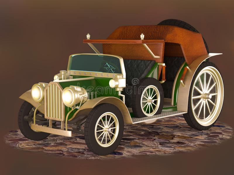Rocznika samochód zielony kolor dla transportu pasażery na ciemnym tle royalty ilustracja