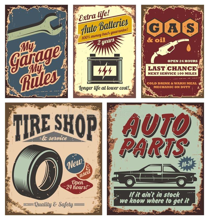 Rocznika samochodowi metalu znaki i plakaty royalty ilustracja